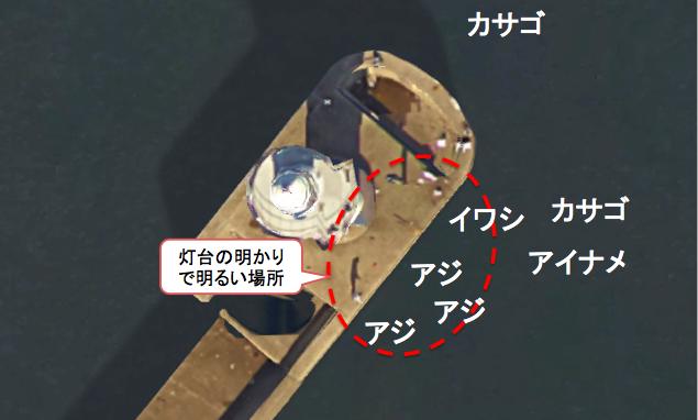 第一新堤灯台周りのポイント