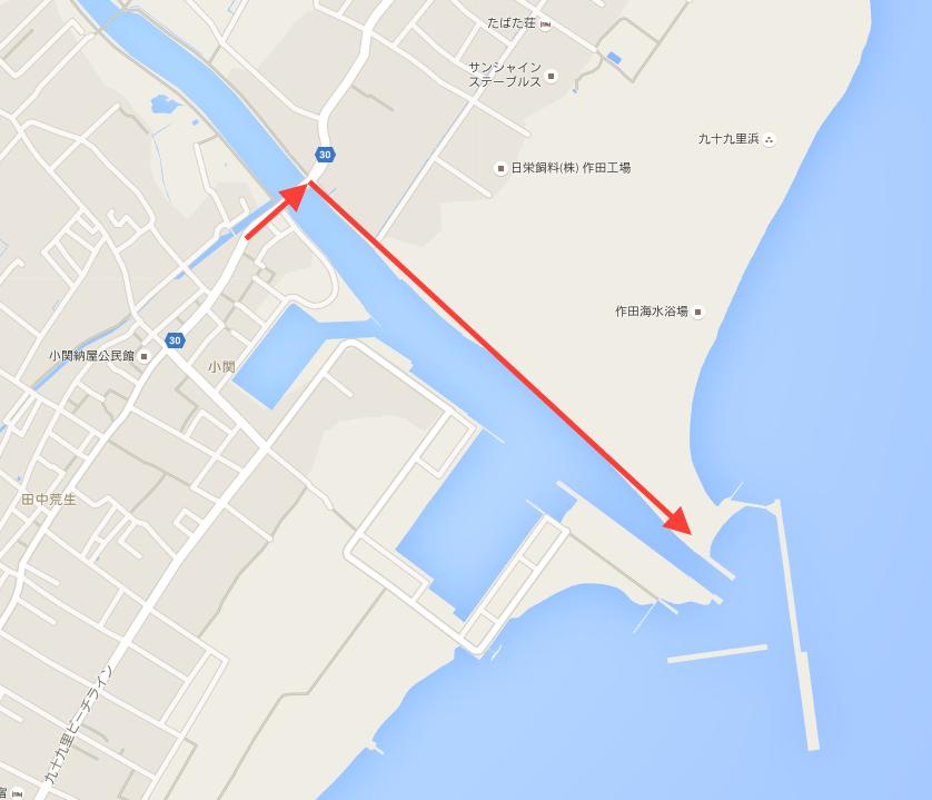 片貝漁港 釣り場までのルート